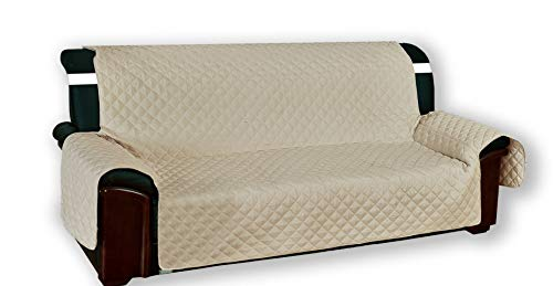 Funda para sofá «Vivy» para sillones, de 1 plaza, acolchada, de color beis liso,60 cm