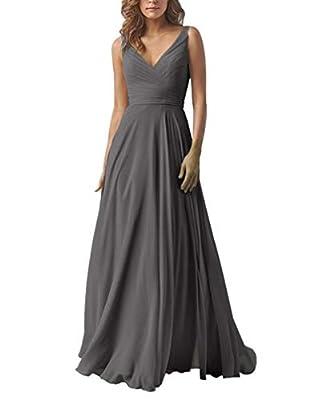 Yilis Double V Neck Elegant Long Bridesmaid Dress Chiffon Wedding Evening Dress Dark Grey US6