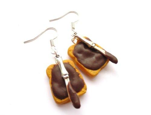 Nuss Nugat Brot Ohrringe Schokoladen Ohrhänger Handmade