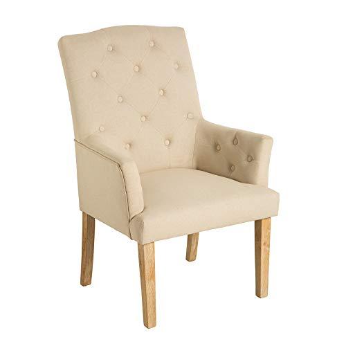 Riess Ambiente Design Stuhl Long Island beige mit Armlehnen Chesterfield Steppung Landhausstil Esszimmerstuhl Armlehnstuhl