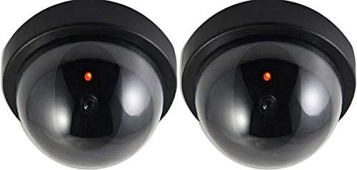 2X Dummy Kamera Attrappe mit Objektiv Videoüberwachung Warensicherung Überwachungskamera Fake Camera mit rotem LED Licht täuschend echt für Wand Decke