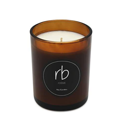 rosbas Venezia Collection, Bamboo & Coconut Scented Jar Candle, Natural Soy Wax, Amber Glossy Glass Jar with Black Box, 7 oz, Essential Oils, Long Burn Time, Relaxing, Non-Toxic, Handmade in USA