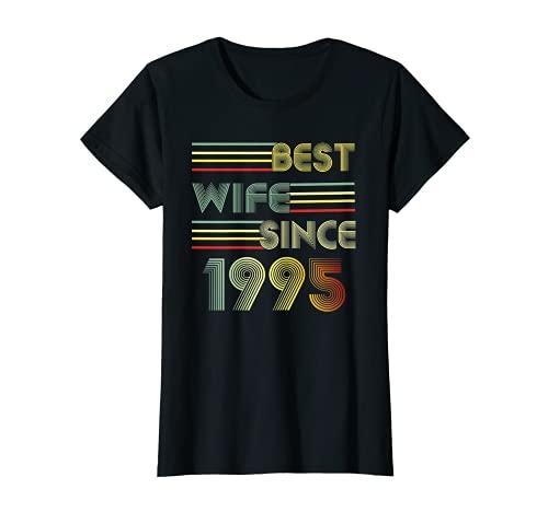 Mujer 25 aniversario de boda regalo retro mejor esposa desde 1995 Camiseta