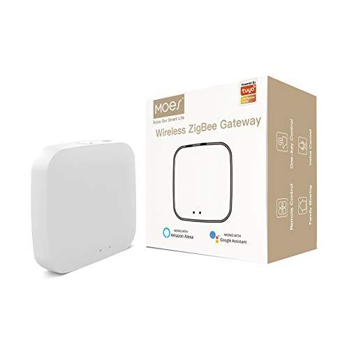 Moes Tuya Zigbee 3.0 Hub Gateway,WiFi Smart Home Bridge Wireless Remote Controller, Compatible with Alexa/Google Assistant.Work with All Tuya ZigBee3.0 Smart Products (2.4G WiFi Needed)