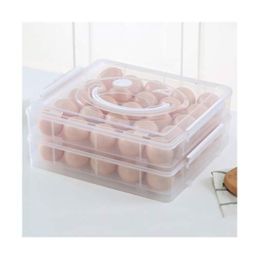 Huevera portátil Doble Capa bandeja de huevos con la manija y la tapa, soporte for huevos for los huevos 25/50, sonrisa frente a diseño, huevo contenedores cajas de comida for el refrigerador Envase p