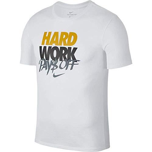 NIKE Camiseta para Hombre Dri-fit Hard Work, Hombre, 924241, Blanco, XXL