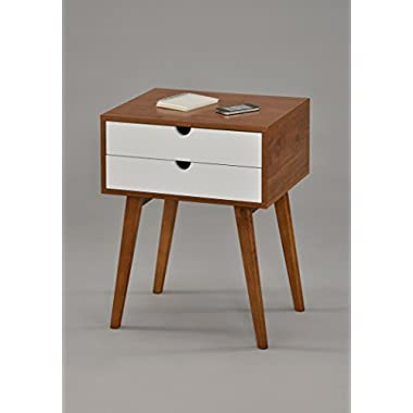 Dark Oak / White Side End Table Nighstand with Two Drawer 24 H - Mid-Century Style
