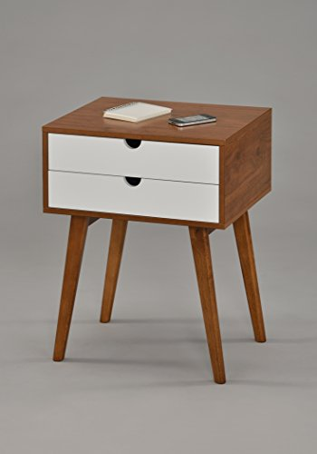 """Dark Oak/White Side End Table Nighstand with Two Drawer 24"""" H - Mid-Century Style"""
