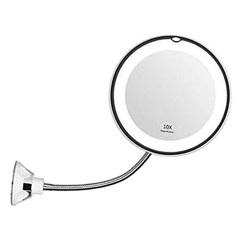 Toygogo Beleuchtete Kosmetikspiegel mit 10-Fach Vergrößerung 360-Grad-Drehung Rasierspiegel Badezimmerspiegel mit Schwanenhals - 17cm
