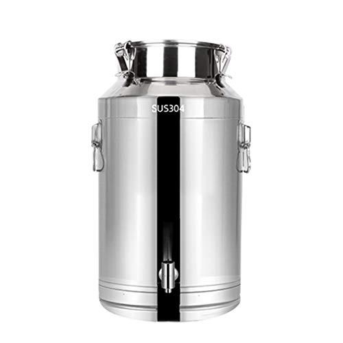 Grifo de banda de acero inoxidable, jarra de leche engrosada, hermética, para almacenamiento de cocina, para harina, vino y barriles de transporte (tamaño : 28 L)