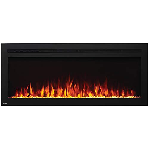 Napoleon NEFL50HI Purview 5000 BTU 1500 Watt 50 Inch Linear Electric Wall Mounted Recessed Fireplace with Remote, Heater, and Color Changing Flame electric Fireplace recessed