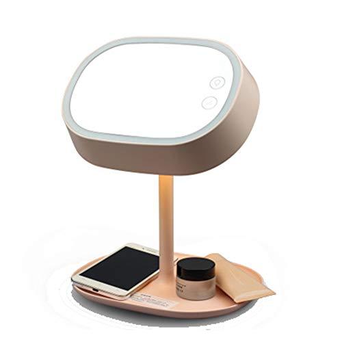 Espejo de tocador LED creativo para escritorio, tocador, mesita de noche, luz de noche para pintar la cara, afeitar.