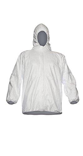 DuPont Tyvek 500 Jacke, 10 Stk. Jacken mit Kapuze zur Ergänzung von Schutzkleidung, PSA Kategorie, Weiß, Größe XL