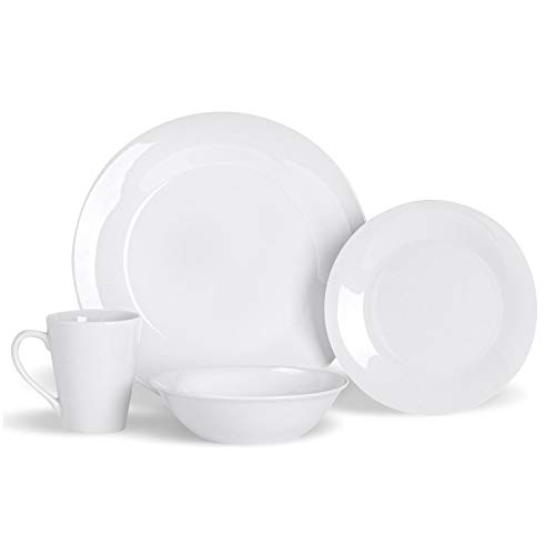 Argon Tableware Juego de vajilla de 16 Piezas - Platos Llanos Grandes y pequeños, Boles y Tazas - para 4 Personas - Porcelana