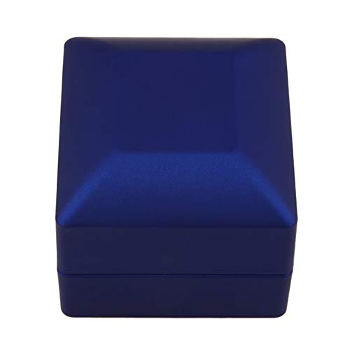 DBSUFV Moda LED Anillo de Pendiente Iluminado Caja de Regalo Anillo de Bodas Exhibición de Joyas Organizador de empaque Almacenamiento para Compromiso Negro/Azul