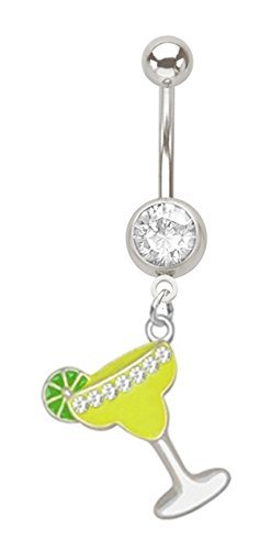 Clear cz Margarita Cocktail party drink dangle Belly button navel Ring piercing bar jewelry 14g