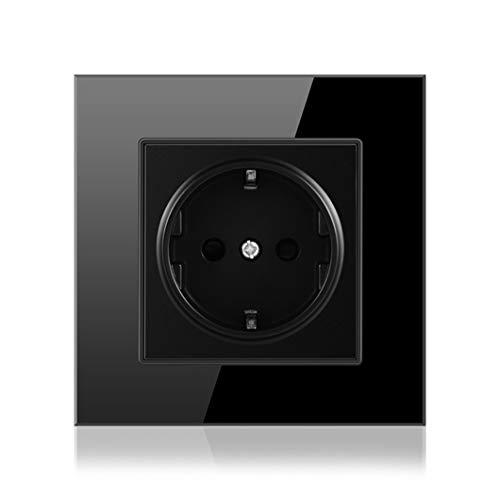 Zócalo de poder, enchufe eléctrico estándar de la UE de 16A 86Mm * 86Mm enchufe de pared del panel de cristal de cristal blanco A6 Black EU 250V