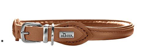 HUNTER ROUND & SOFT ELK PETIT Halsband für kleine Hunde, Leder, weich, rund, fellschonend, 37 (XS-S), cognac