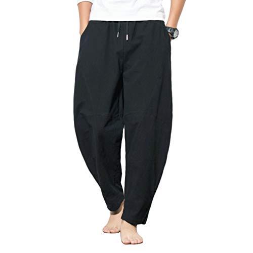 JEELINBORE Pantaloni Sportivi - Harem - Uomo Pantaloni di Lino Baggy Casual Pantalone (Nero, CN 3XL)