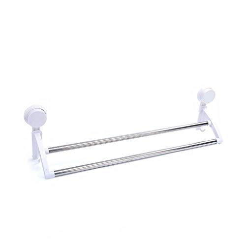 Wtbew-u Toallero para baño, toallero, toallero, estante de baño, ventosa para baño, toallero, doble poste, 64 cm (tamaño: 50 cm) (color: 50 cm)