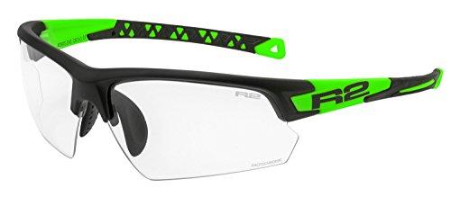 R&R Multi-Sportbrille Evo | Sonnenbrille | Radbrille | Laufbrille mit Wechselgläser (schwarz/grün, selbsttönend)