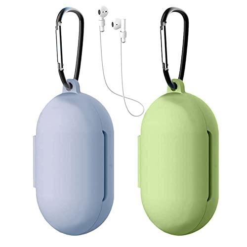 Yoowei [2-Pack] Funda Compatible con Huawei FreeBuds 3i y Honor Magic Earbuds Wireless Earphones, 3in1 Protectora de Silicona Funda + Cable de Auriculares + Gancho de Msetal, Verde + Gris Lavanda