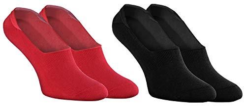 Rainbow Socks - Donna Uomo - Colorato Calze Barca Fantasmini in Cotone - 2 Paia - Rosso Nero - Taglia 36-38