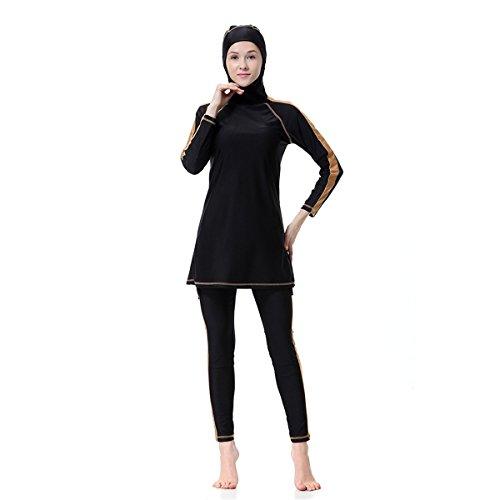 Dreamskull Damen Frauen Muslim Abaya Dubai Muslimische Islamische Burkini Badeanzug Bademode Schwimmanzug Swimwear Swimsuit Hijab Langarm Arabisch Türkisch Kleidung Übergröße S-3XL (L, Schwarz)