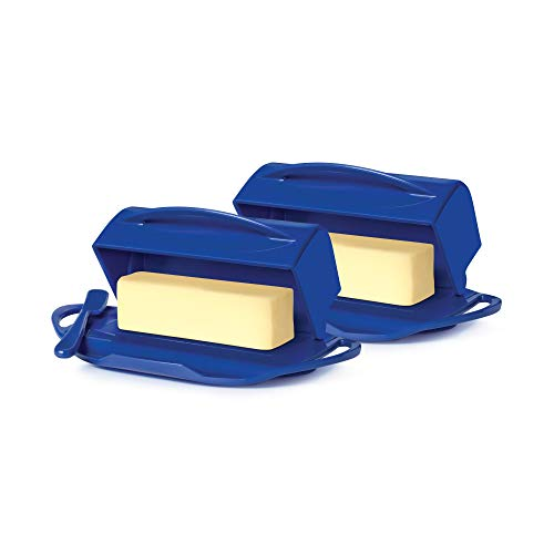 Butterie Flip-Top Butter Dish with Matching Spreader, 2-Pack (Cobalt Blue)