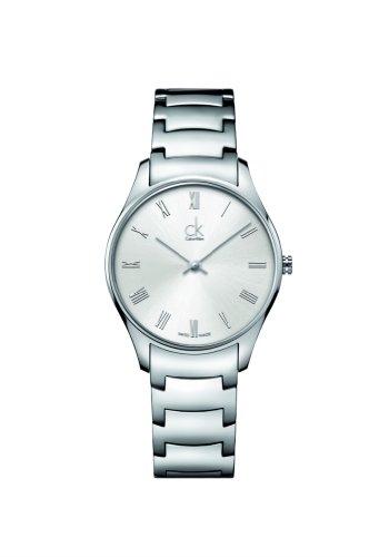 Calvin Klein 0 - Reloj de Cuarzo para Mujer, con Correa de Acero Inoxidable, Color Plateado