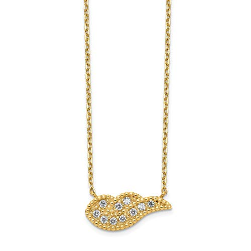 14k Yellow Gold Angel Wing Cubic Zirconia Cz 2 Inch Extension Chain Necklace Pendant Charm Feather Fine Jewellery For Women Gifts For Her