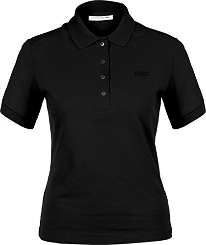 Lacoste Femme Polo Manches Courtes PF0503, Dame Polo,3 Boutons,Taille Normale,Black (031),46 EU
