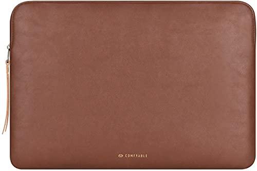 Comfyable Laptophülle Kompatibel für 13 Zoll MacBook Pro und MacBook Air, Laptop Sleeve PU-Leder Laptoptasche 13-13,3 Zoll wasserdichte Notebook Schutzhülle für Mac, Braun