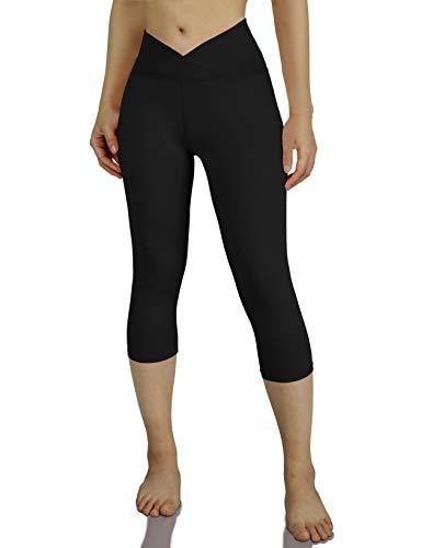 ODODOS Women's Yoga Capris, V-Front Yoga Capri Leggings, 4 Way Stretch Workout 19' Inseam Leggings,Black,X-Large