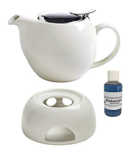 Dekomiro Maxwell & Williams theepot wit infusieT 750 ml, keramiek met bijpassende stoofjes, theezeef afwasmiddel