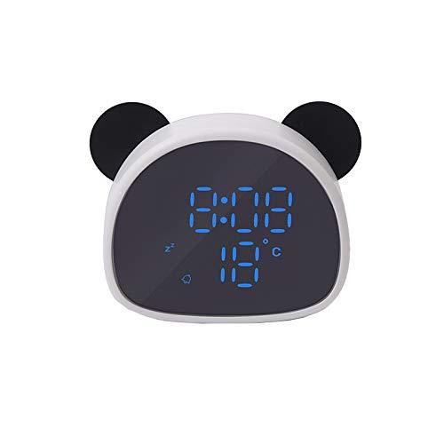 Reloj Despertador, Caricatura, Control De Voz, Pantalla De Temperatura, Tono De Llamada De Grabación, Reloj Panda Electrónico Multifuncional De Dibujos Animados,Blackandwhite