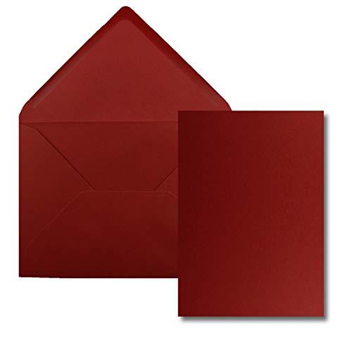 Juego de 25 tarjetas con sobre, tamaño DIN A5, 14,8 x 21 cm, color rojo oscuro con sobres DIN C5, 15,4 x 22 cm, adhesivo en...