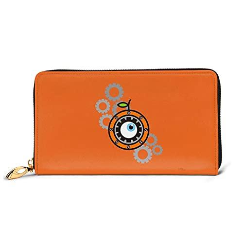 Un reloj de cuero naranja cartera de cuero con cremallera cartera de artesanía personalización personalizada cartera tarjeta caso de gran capacidad resistente y duradero