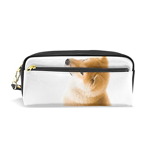FengJu ペンケース ペンポーチ 高校生 女子 男子 おしゃれ かわいい 大容量 PU 化粧ポーチ 収納 小物入れ 学生 シンプル オフィス用 Dog Shiba Inu 柴犬 可愛い 犬柄