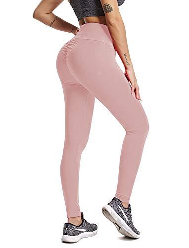 Leggins Sportivi Lungo Donna, Allenamento Leggings Opaco Pantaloni Yoga Fitness Palestra, GP-08(Pink,XL)