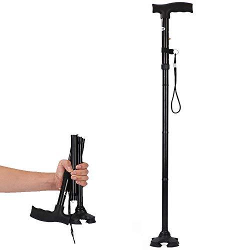 Chucksss-DS-00026 opvouwbare wandelstok voor mannen, vrouwen - opvouwbaar, inklapbaar, licht, verstelbaar, draagbaar - balanshulp - slanke, comfortabele T-handgrepen (zwart)