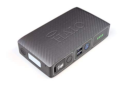 HALO Bolt Compact Portable Car Jump Starter - Car Battery Jump Starter with 2 USB Ports to Charger Devices, Portable Car Charger - Silver Graphite