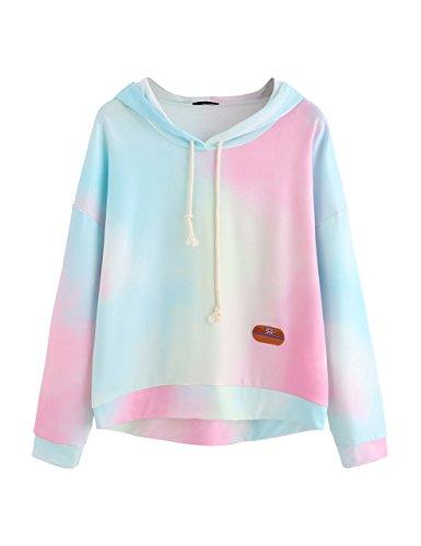 SweatyRocks Women's Long Sleeve Hoodie Sweatshirt Colorblock Tie Dye Print Tops Multicolor M