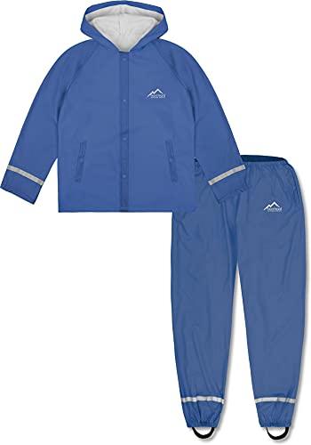 normani Outdoor Sports Kinder wasserdichter Regenanzug Set aus Regenjacke und Regenhose für Jungen und Mädchen 5000 mm Wassersäule - 100% Winddicht und wasserdicht Farbe Hellblau Größe M/134-140