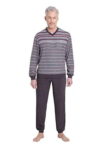 hajo Pyjama Schlafanzug 53240/107 Frottee Graphit gestreift, Größe:62 / 5XL