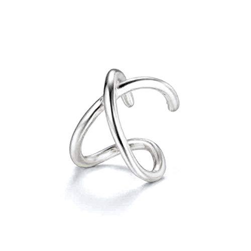 Pendientes Mujer Pendientes No Perforados con Puño Cruzado De Plata De Ley 925 para Mujer Pendientes con Clip Cartílago Jewelry-2_Silver