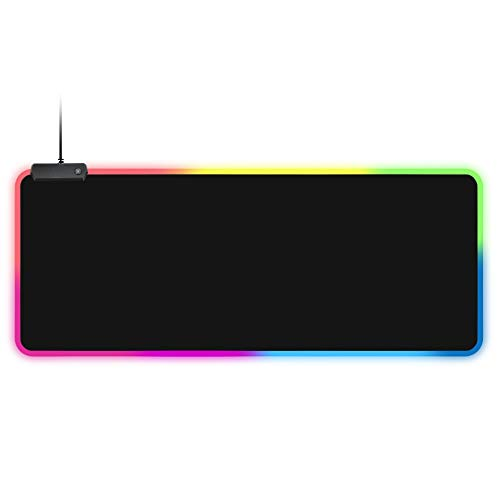 RGB Gaming Mouse Pad, LED Large Extended Soft Mousepad with 14 Lighting Modes, Anti-Slip Rubber Base and Waterproof Surface, Computer Keyboard Mouse Mat for Gamer and Home 31.5 x 11.8 x 0.16 Inch