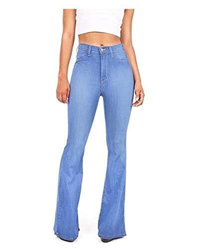 FEIFUSHIDIAN Frauen-Jeans Lautsprecher Elastische Taillenjeans Lose Gerade Jeans Jeans Sexy Low-Ausstatter (Color : Bright Blue, Size : M)