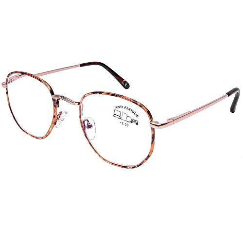 DOOViC Blaulichtfilter Computer Lesebrille Gold Schildkröte Metall Rahmen Große Gläser Brille mit Stärke für Herren/Damen 1,0