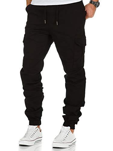 Amaci&Sons Herren Stretch Jogger Cargo Chino Jeans Hose 7006 Schwarz W36